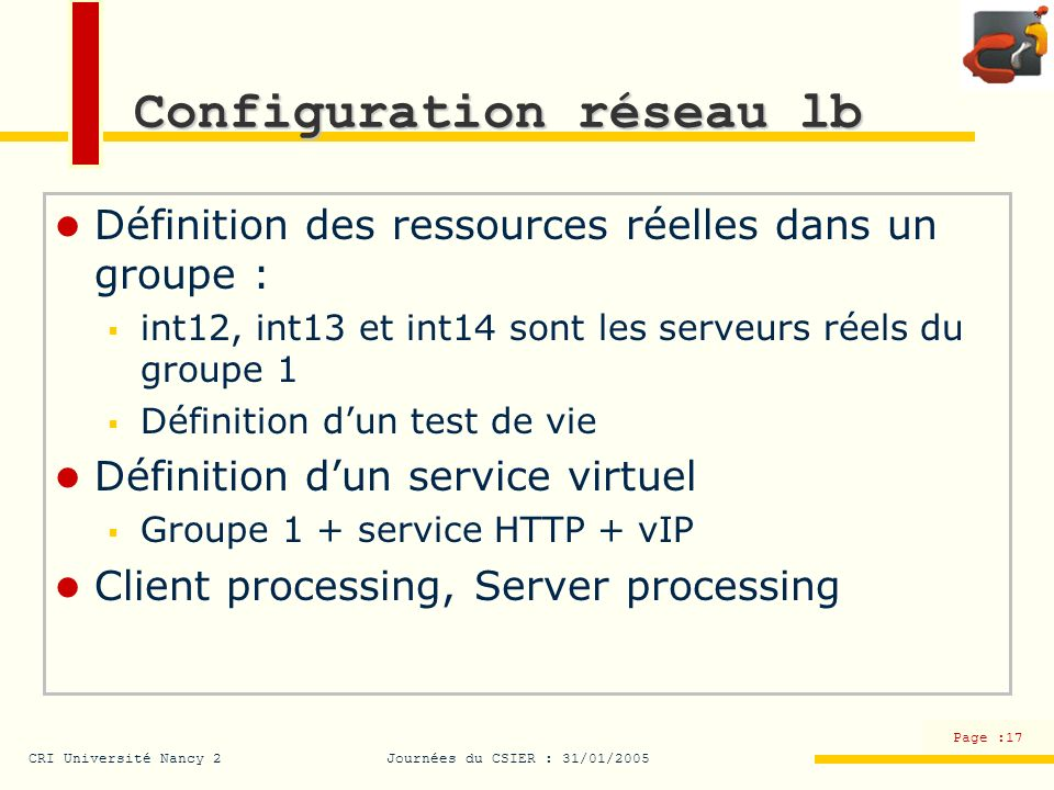 Configuration réseau lb