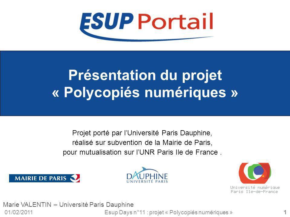 Présentation du projet « Polycopiés numériques »