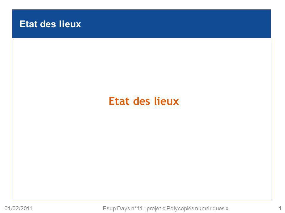Etat des lieux Etat des lieux 01/02/2011