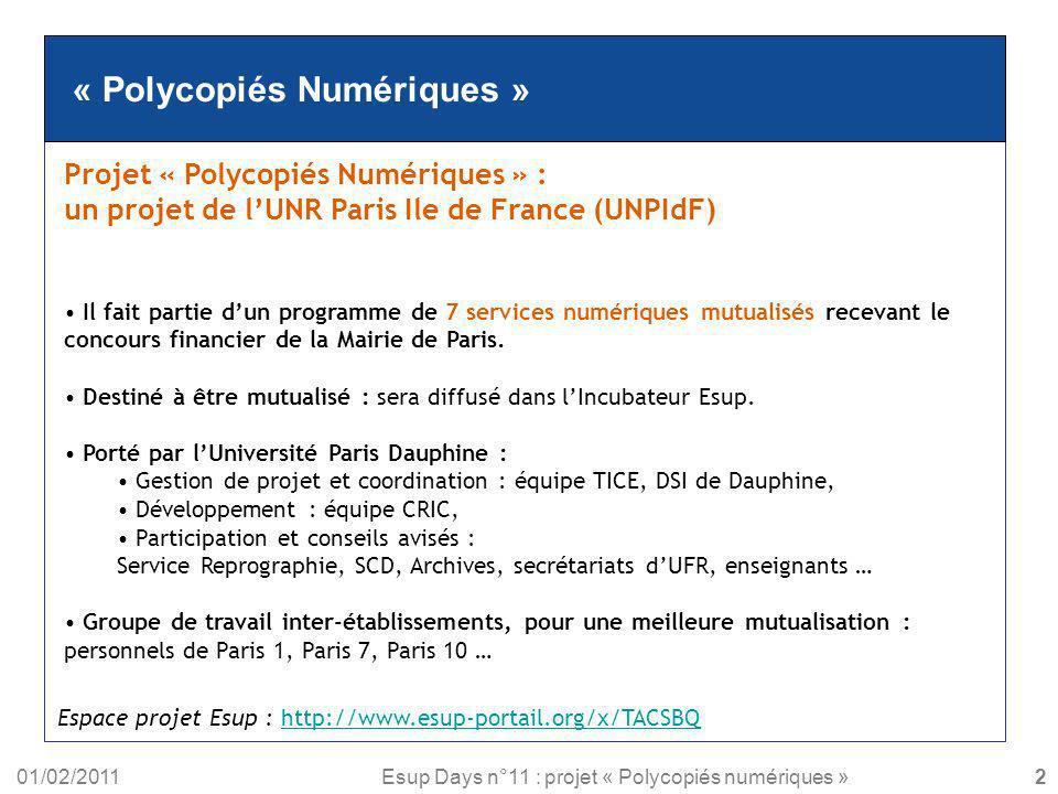 « Polycopiés Numériques »