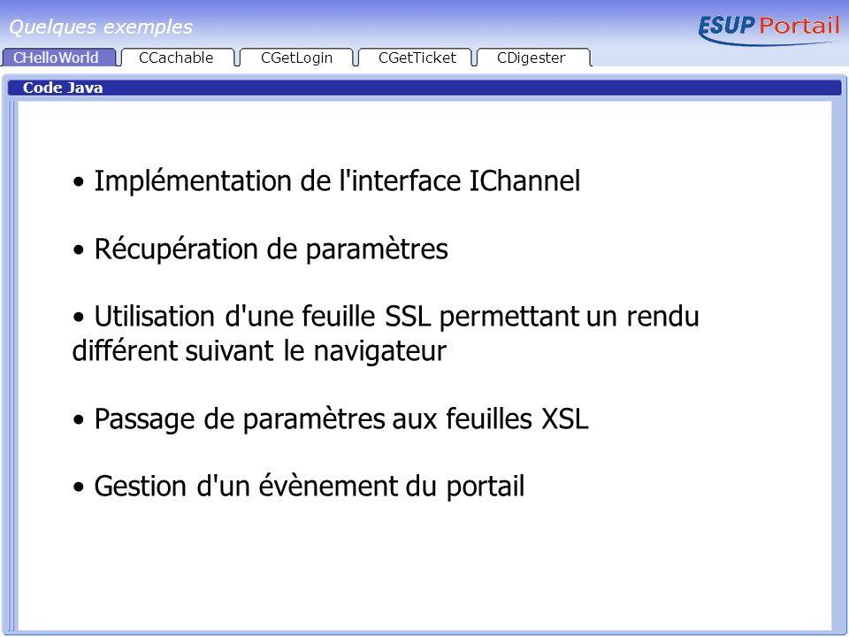 Implémentation de l interface IChannel Récupération de paramètres