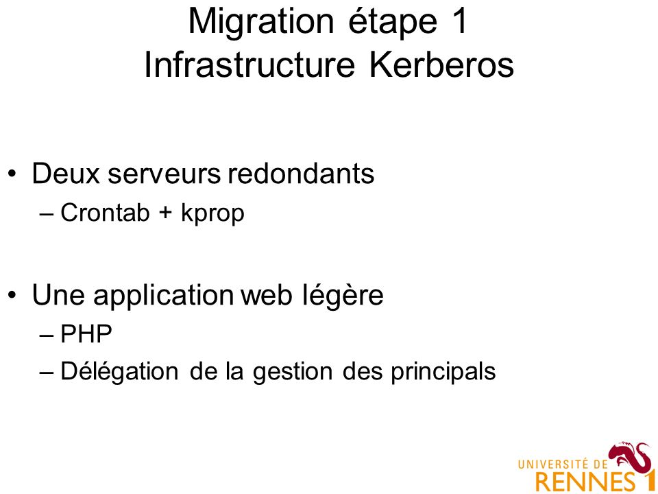 Migration étape 1 Infrastructure Kerberos