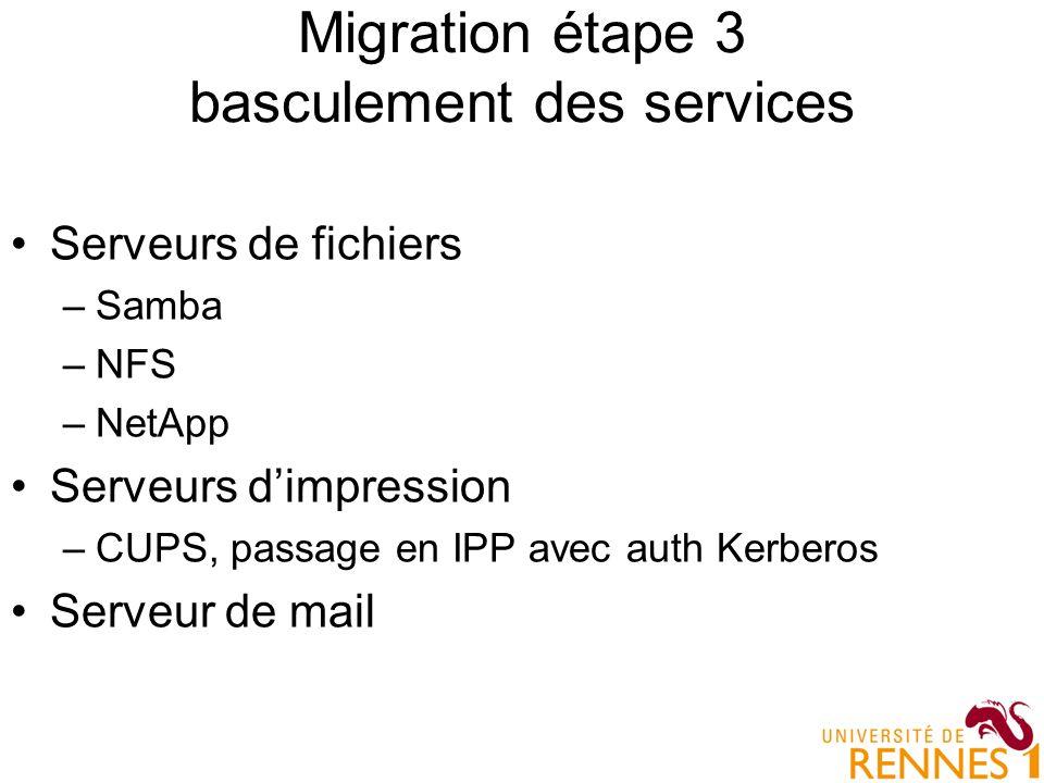Migration étape 3 basculement des services