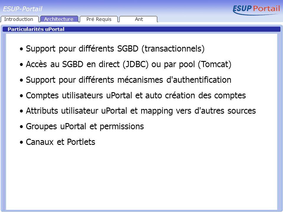 Support pour différents SGBD (transactionnels)