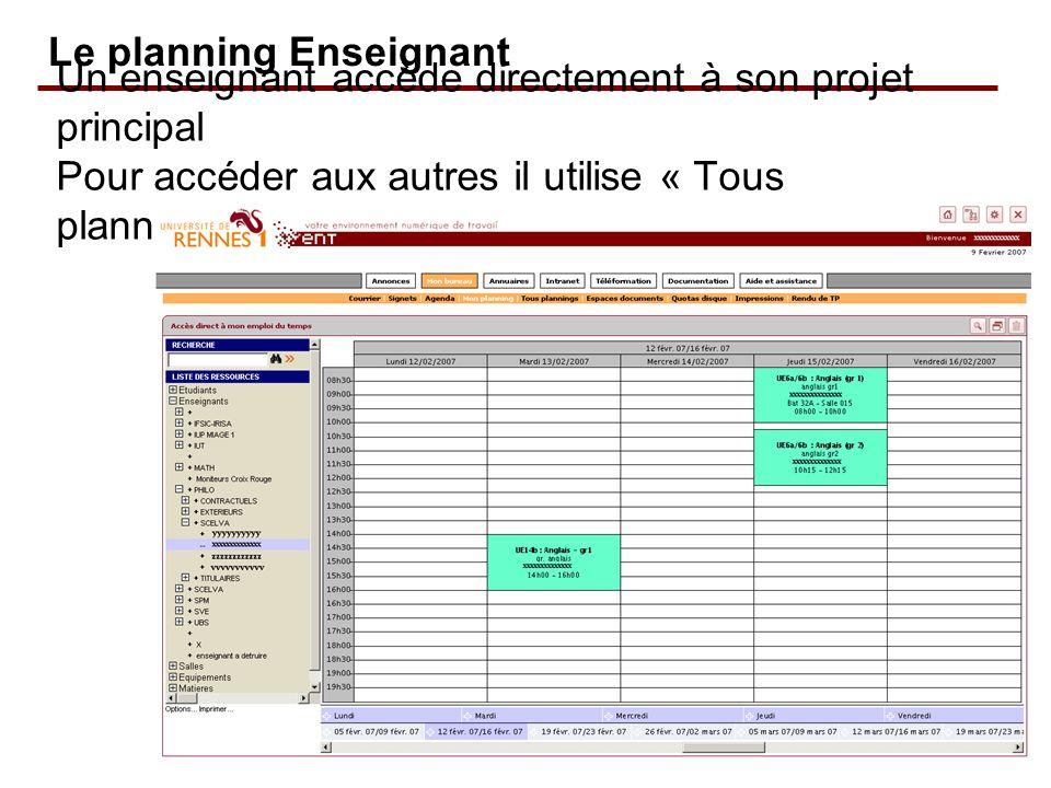 Le planning Enseignant