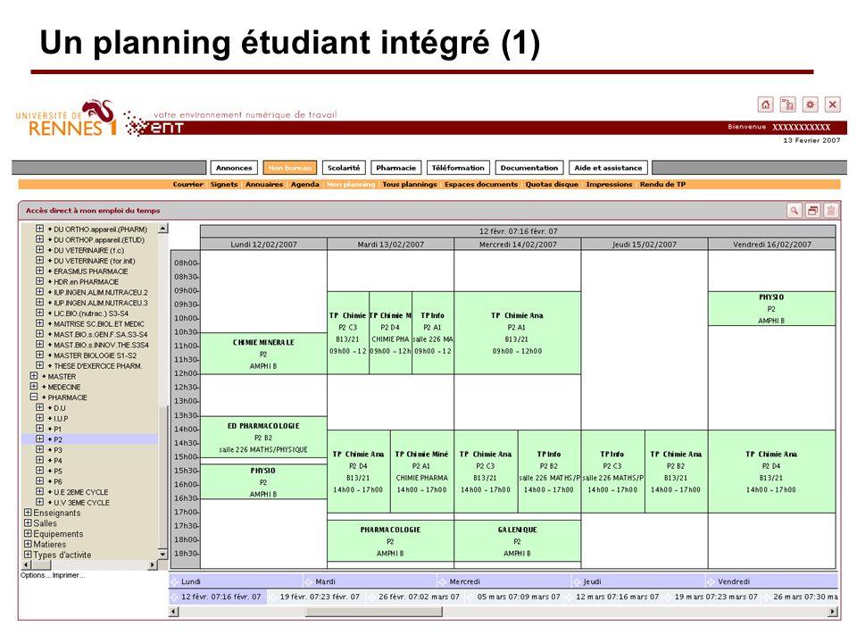 Un planning étudiant intégré (1)