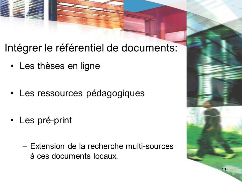 Intégrer le référentiel de documents: