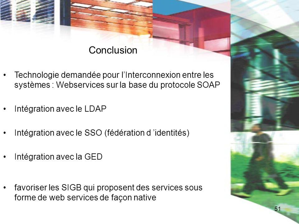 ConclusionTechnologie demandée pour l'Interconnexion entre les systèmes : Webservices sur la base du protocole SOAP.
