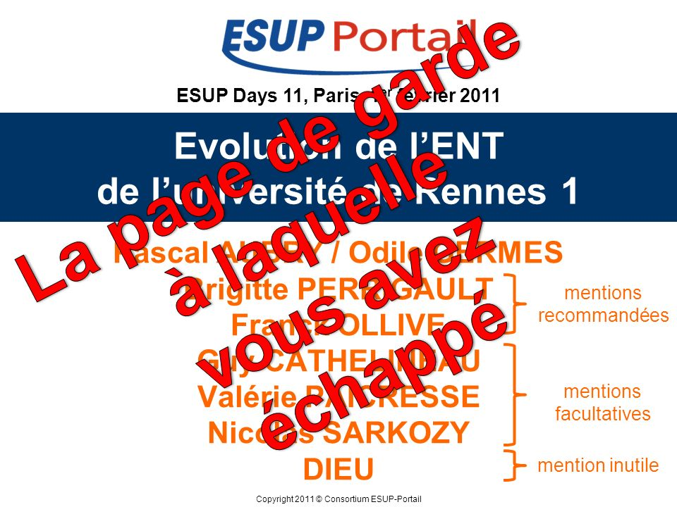 Evolution de l'ENT de l'université de Rennes 1