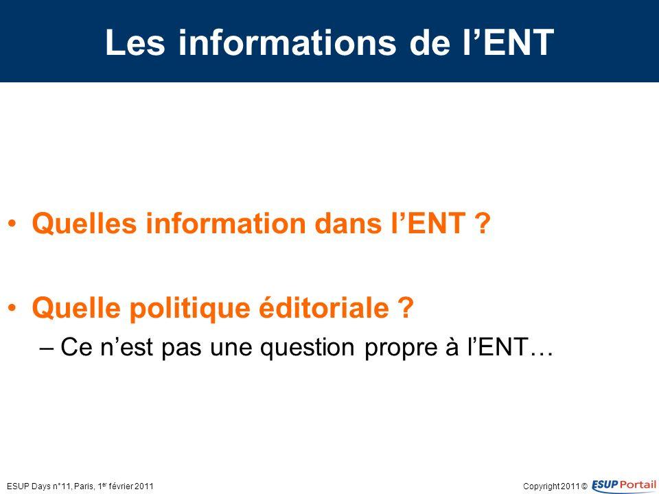Les informations de l'ENT