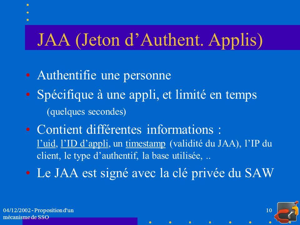 JAA (Jeton d'Authent. Applis)