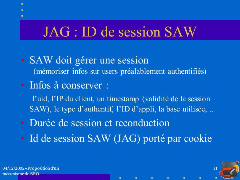 JAG : ID de session SAW SAW doit gérer une session (mémoriser infos sur users préalablement authentifiés)