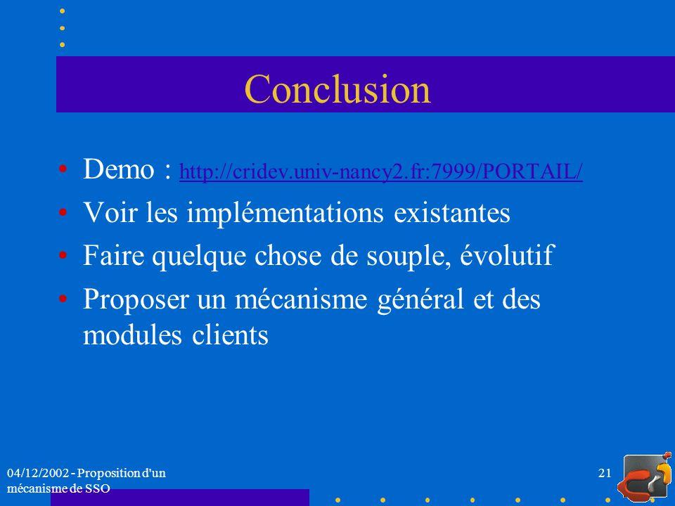 Conclusion Demo : http://cridev.univ-nancy2.fr:7999/PORTAIL/