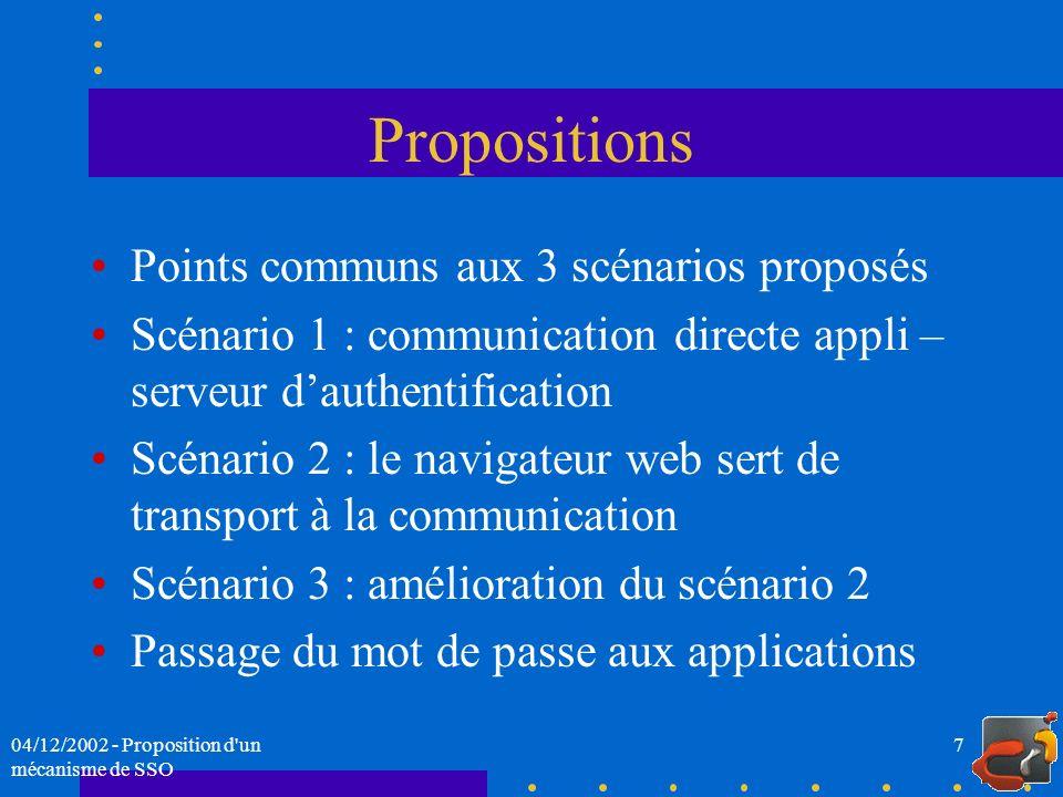Propositions Points communs aux 3 scénarios proposés