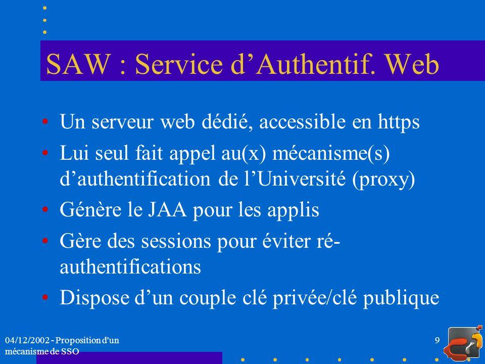 SAW : Service d'Authentif. Web