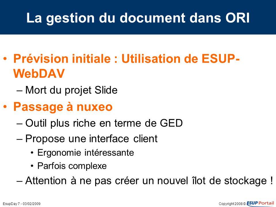 La gestion du document dans ORI
