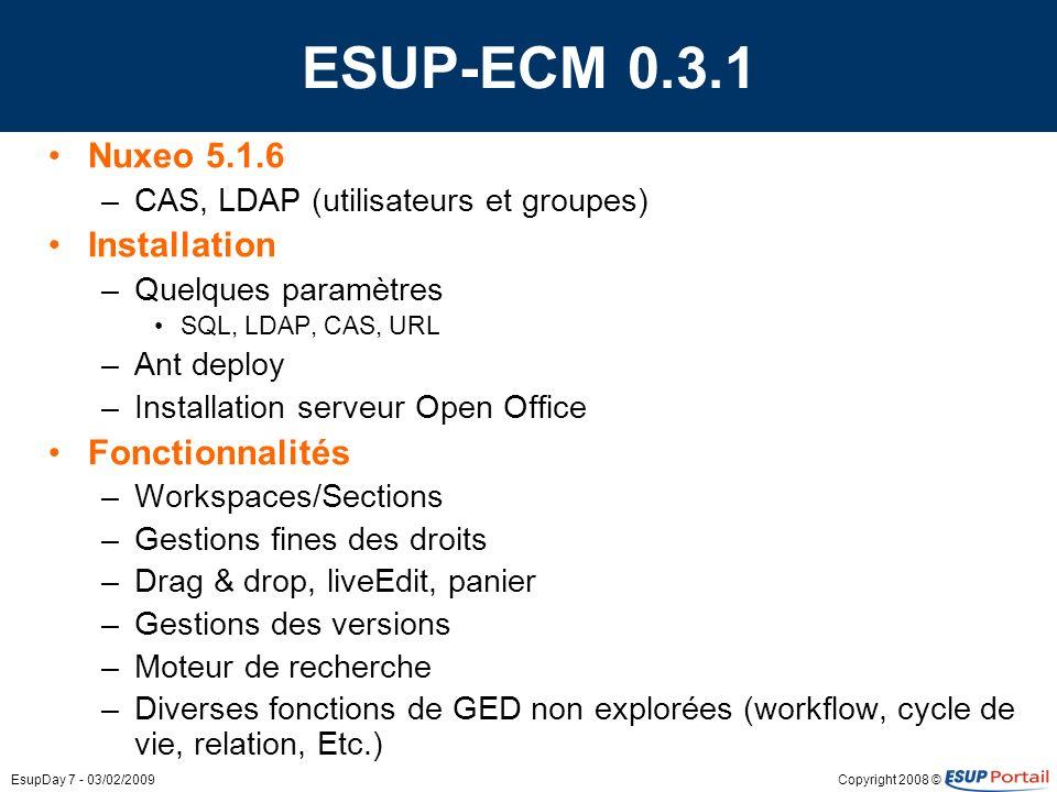ESUP-ECM 0.3.1 Nuxeo 5.1.6 Installation Fonctionnalités
