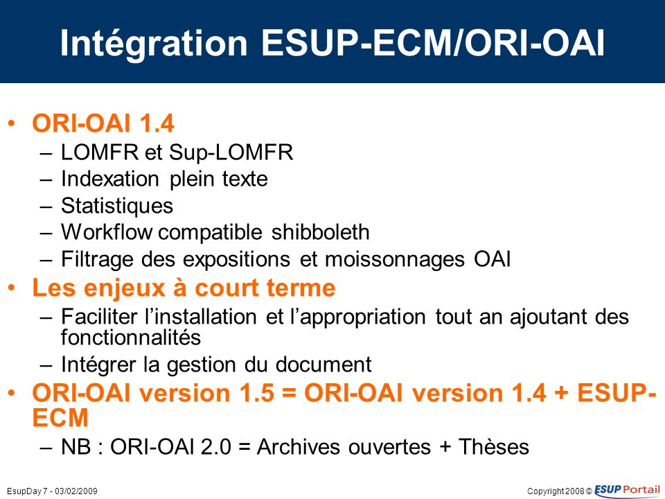 Intégration ESUP-ECM/ORI-OAI