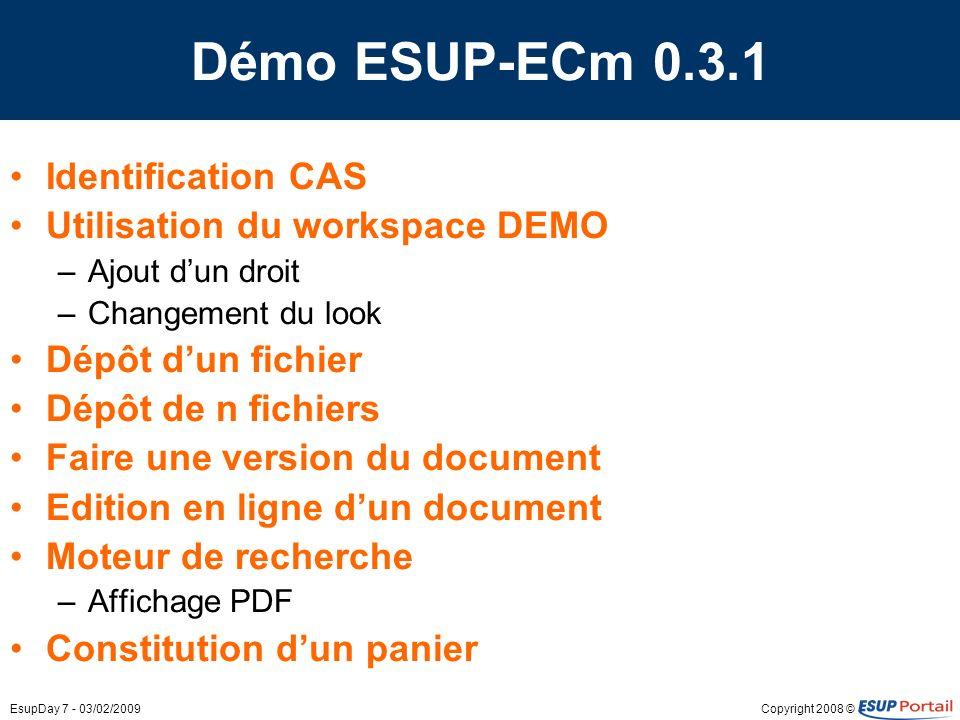 Démo ESUP-ECm 0.3.1 Identification CAS Utilisation du workspace DEMO