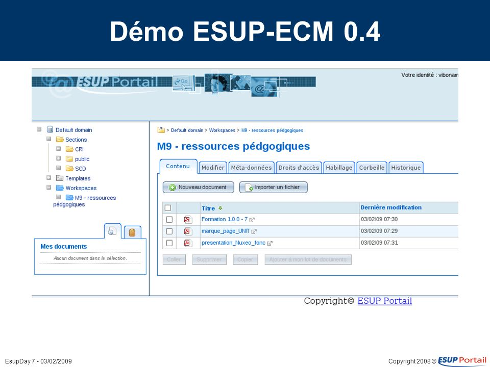 Démo ESUP-ECM 0.4 EsupDay 7 - 03/02/2009