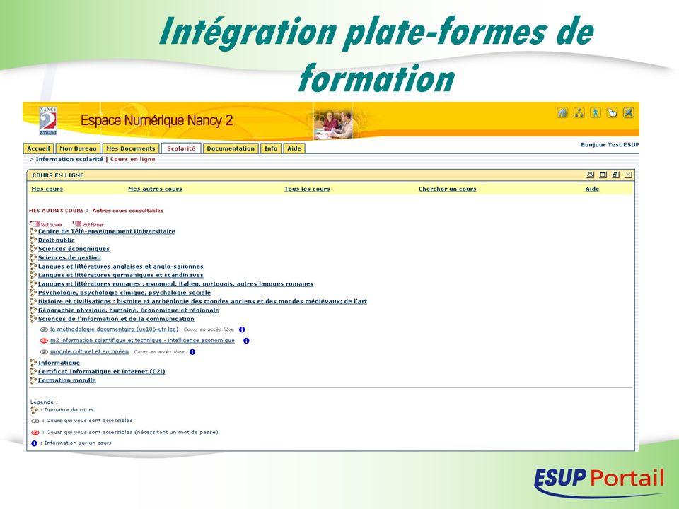 Intégration plate-formes de formation
