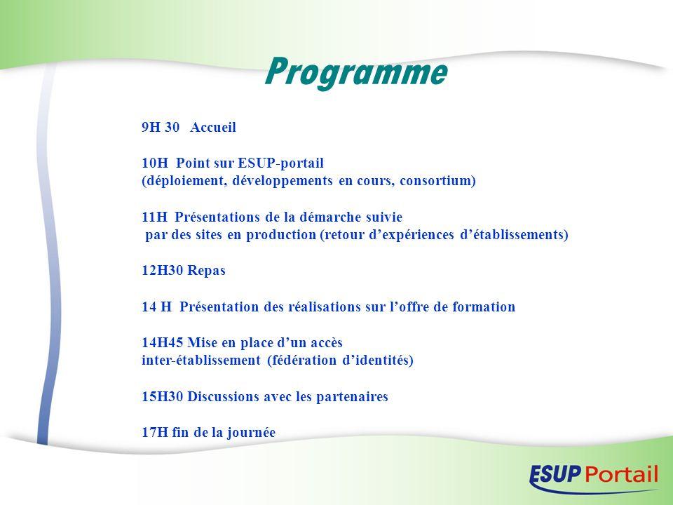 Programme 9H 30 Accueil 10H Point sur ESUP-portail