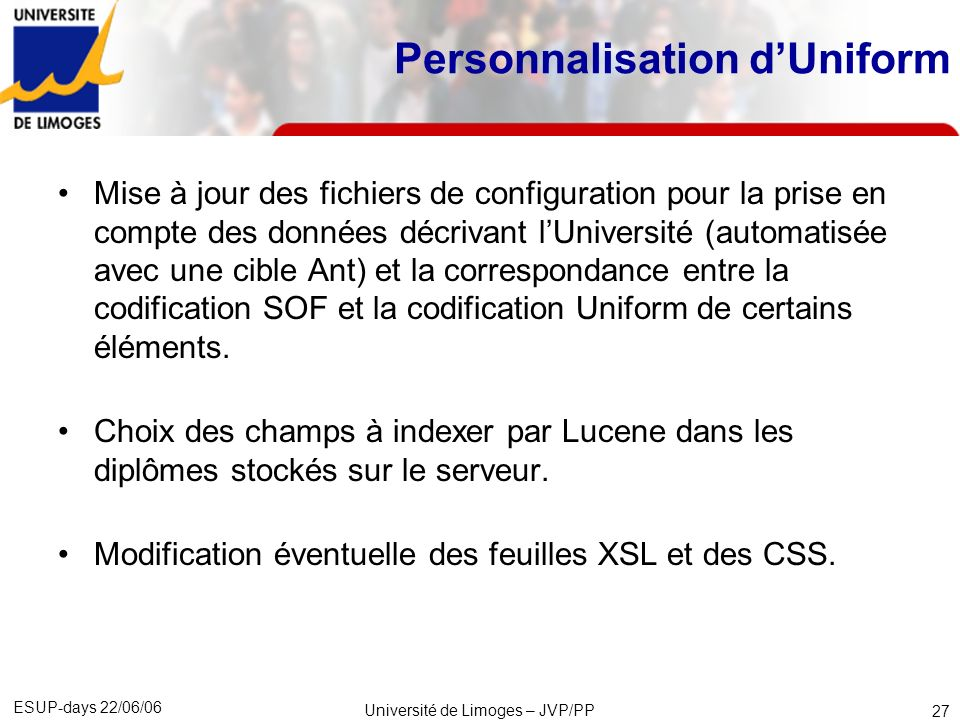 Personnalisation d'Uniform