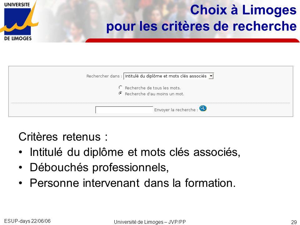 Choix à Limoges pour les critères de recherche
