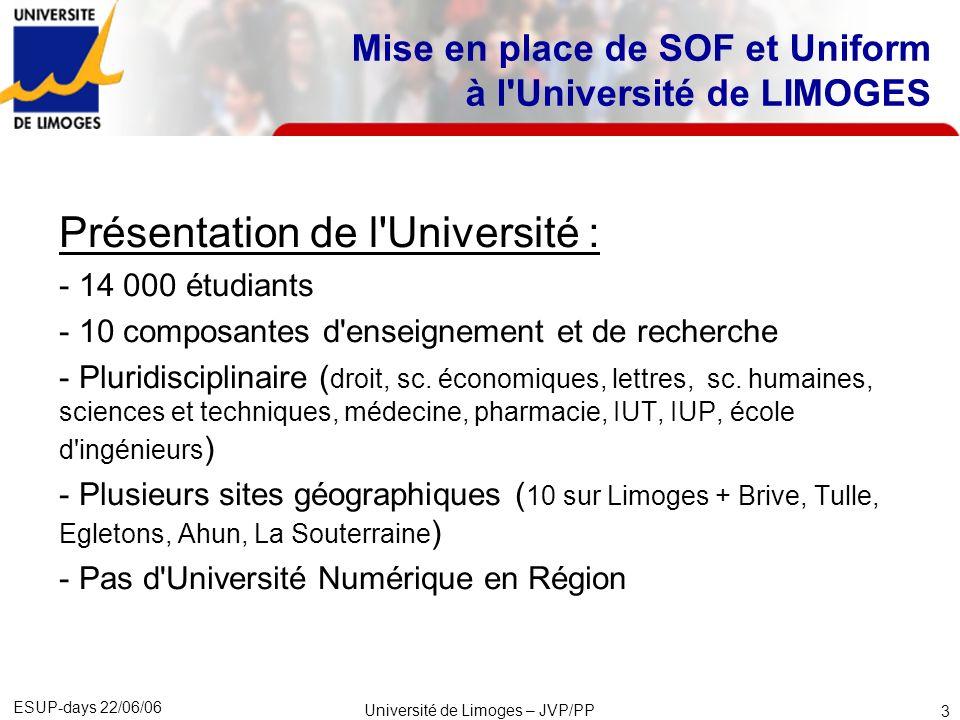 Mise en place de SOF et Uniform à l Université de LIMOGES