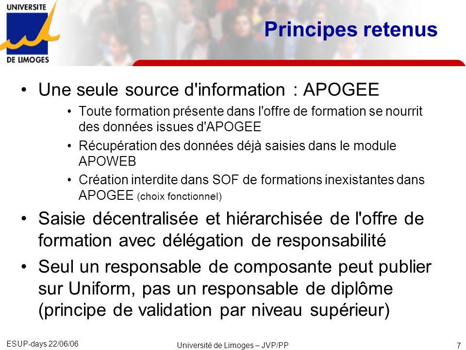 Université de Limoges – JVP/PP