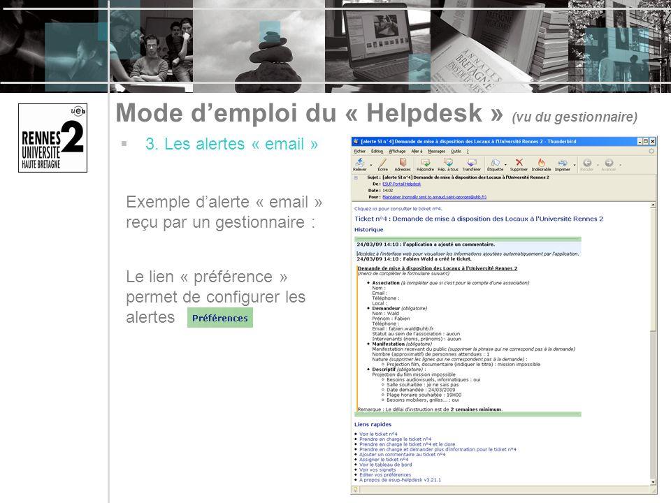 Mode d'emploi du « Helpdesk » (vu du gestionnaire)