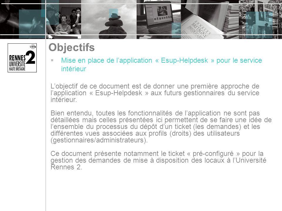 Objectifs Mise en place de l'application « Esup-Helpdesk » pour le service intérieur.