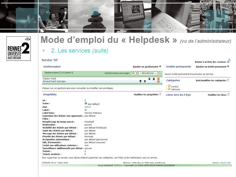 Mode d'emploi du « Helpdesk » (vu de l'administrateur)