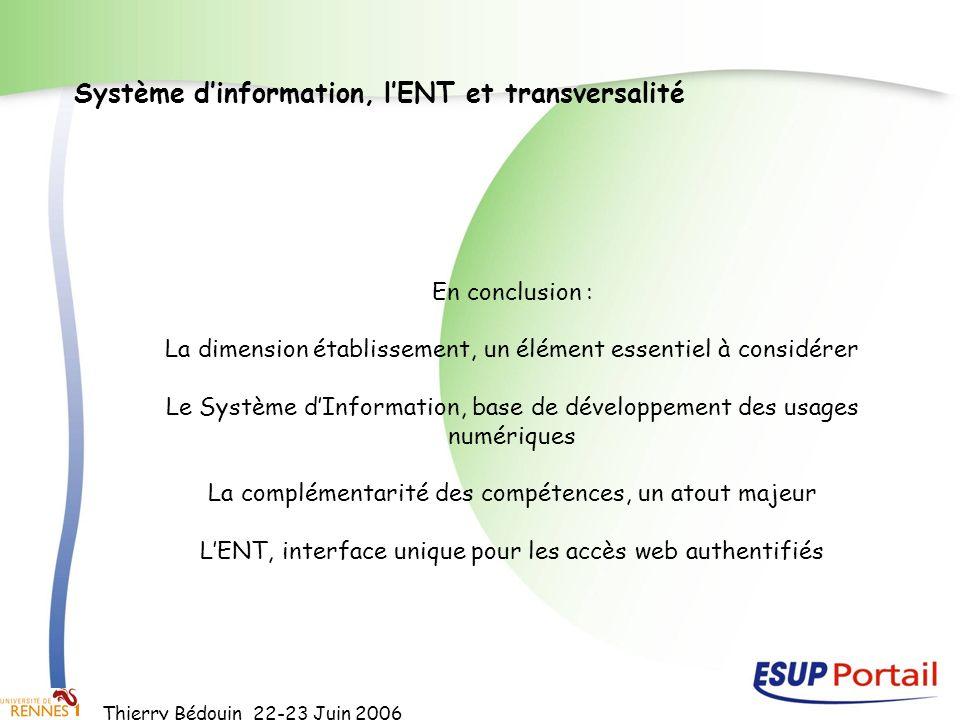 Système d'information, l'ENT et transversalité