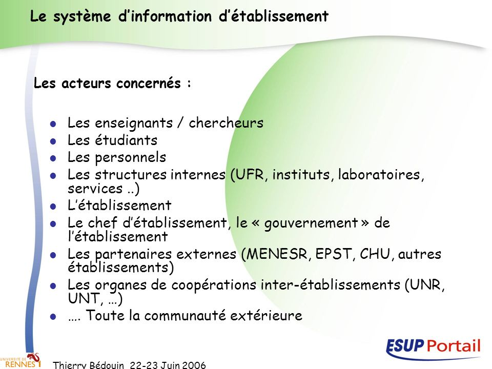 Le système d'information d'établissement