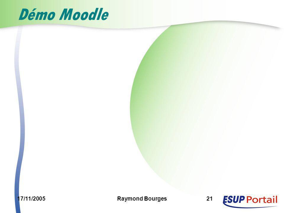 Démo Moodle 17/11/2005 Raymond Bourges