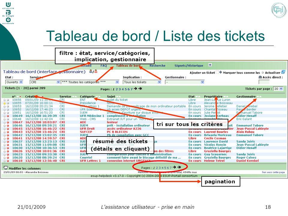 Tableau de bord / Liste des tickets
