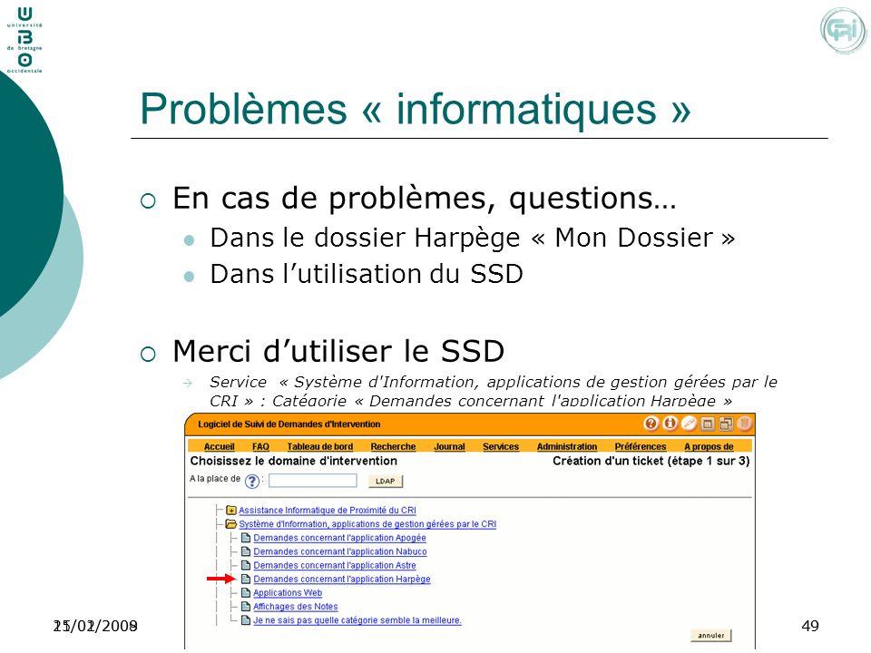 Problèmes « informatiques »