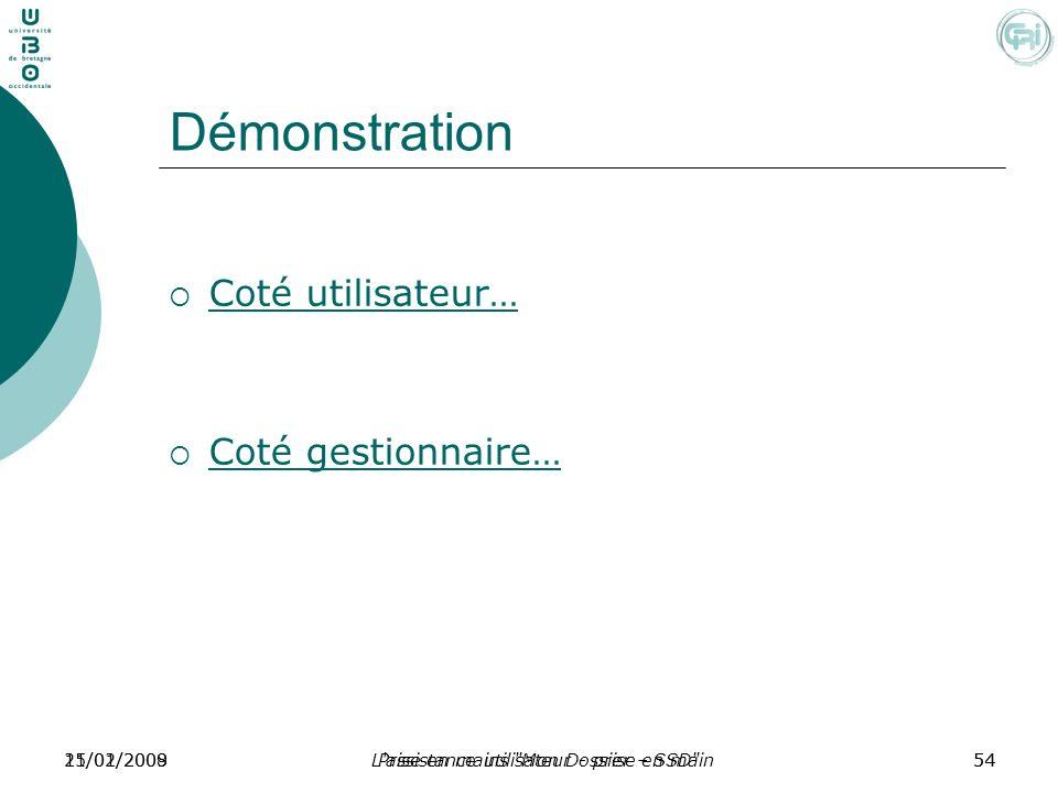 Démonstration Coté utilisateur… Coté gestionnaire… 21/01/2009