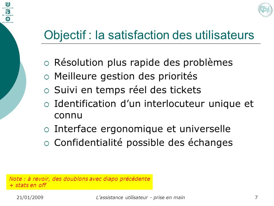 Objectif : la satisfaction des utilisateurs