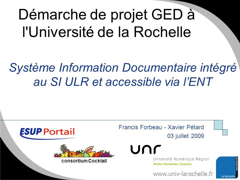 Démarche de projet GED à l Université de la Rochelle