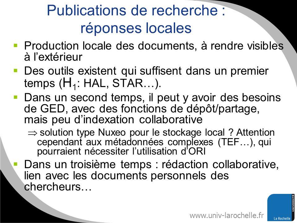 Publications de recherche : réponses locales