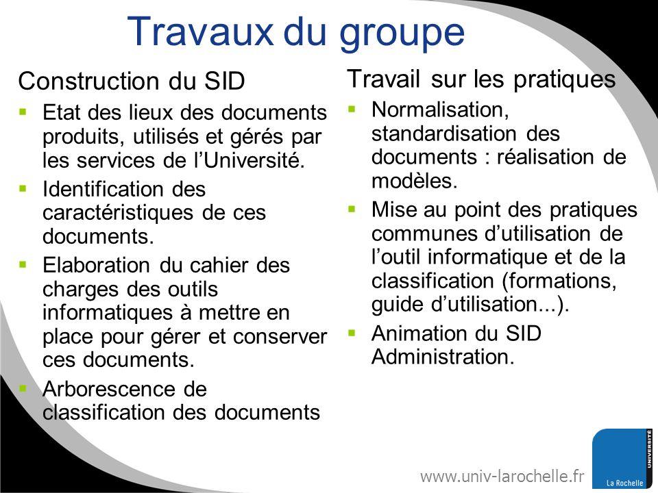 Travaux du groupe Construction du SID Travail sur les pratiques
