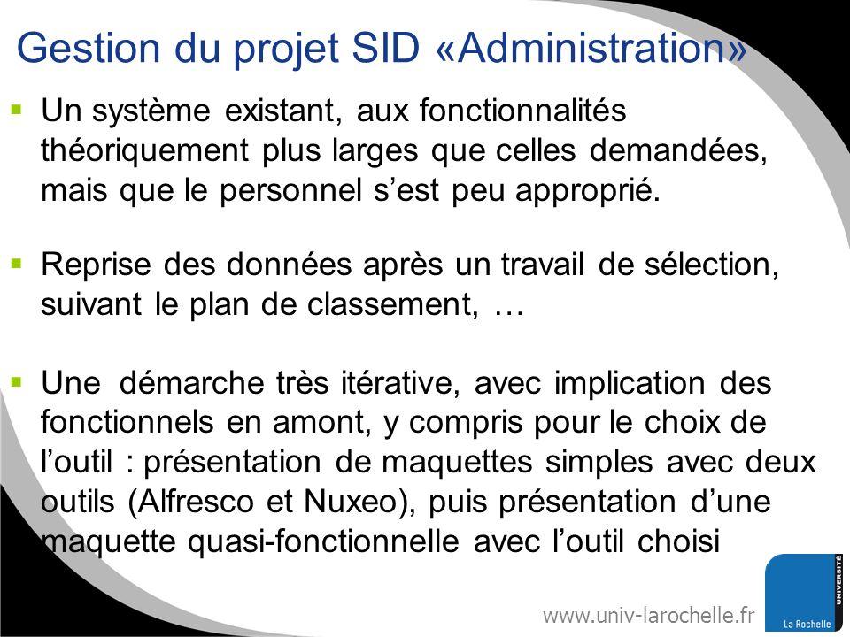 Gestion du projet SID «Administration»