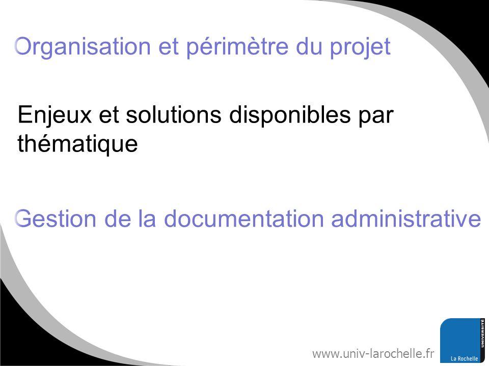 Organisation et périmètre du projet