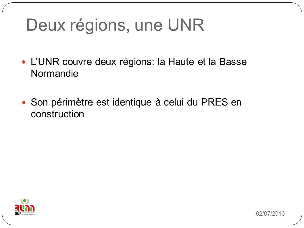 Deux régions, une UNR L'UNR couvre deux régions: la Haute et la Basse Normandie. Son périmètre est identique à celui du PRES en construction.
