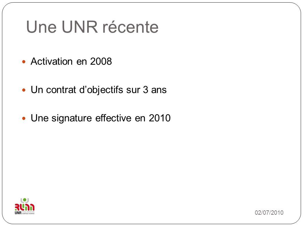 Une UNR récente Activation en 2008 Un contrat d'objectifs sur 3 ans