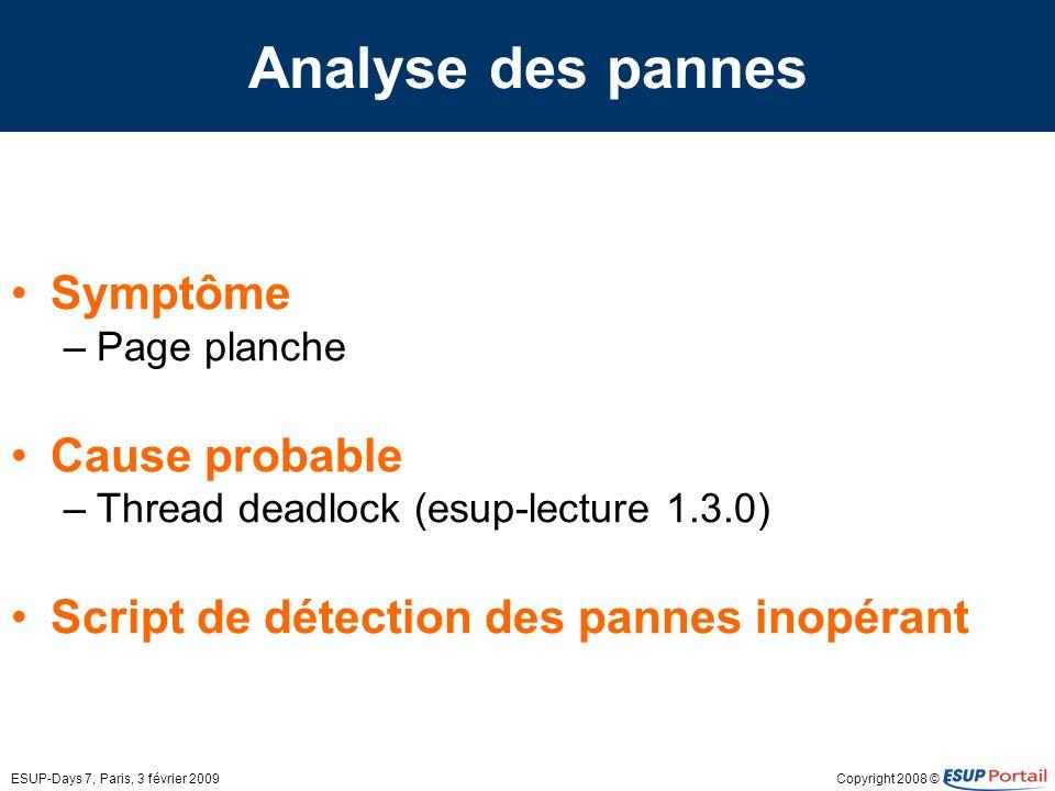 Analyse des pannes Symptôme Cause probable