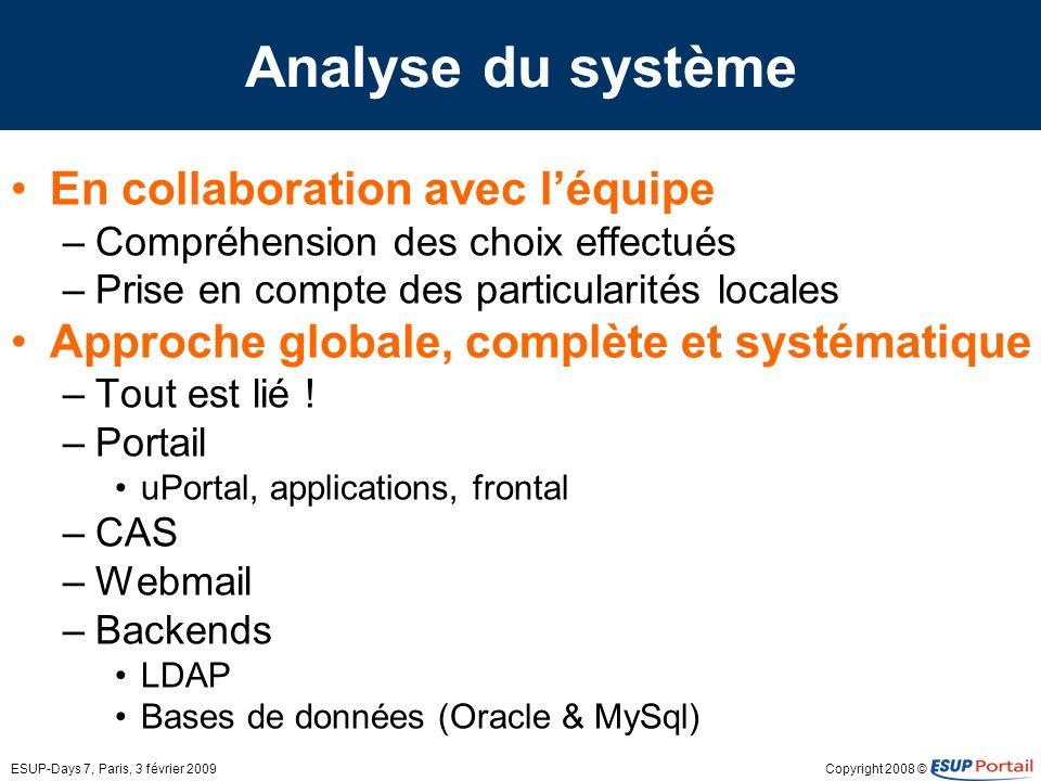 Analyse du système En collaboration avec l'équipe