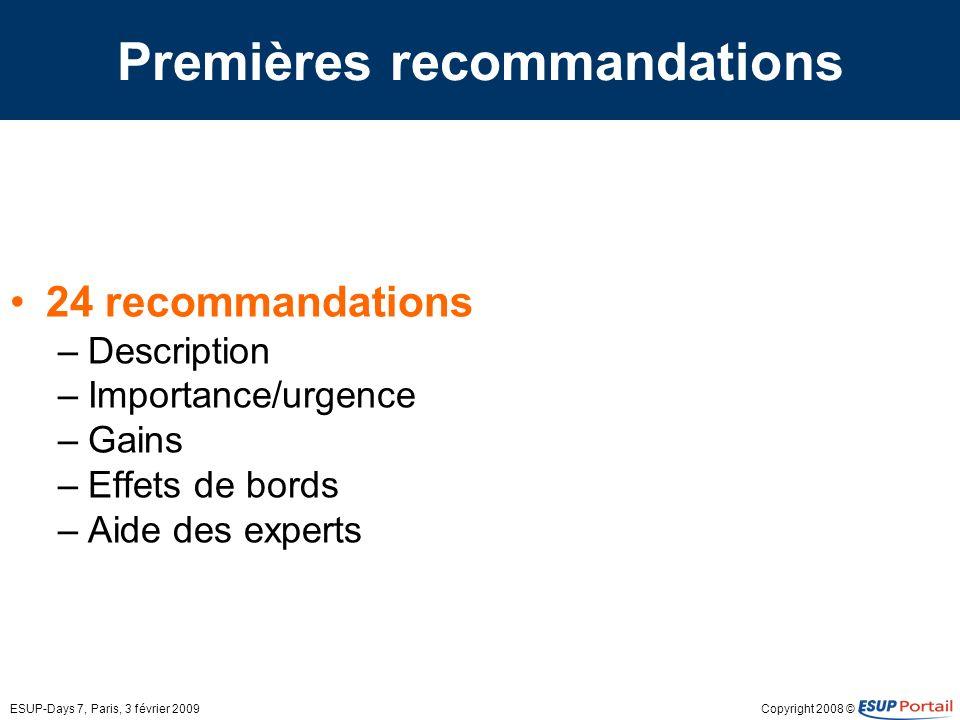 Premières recommandations